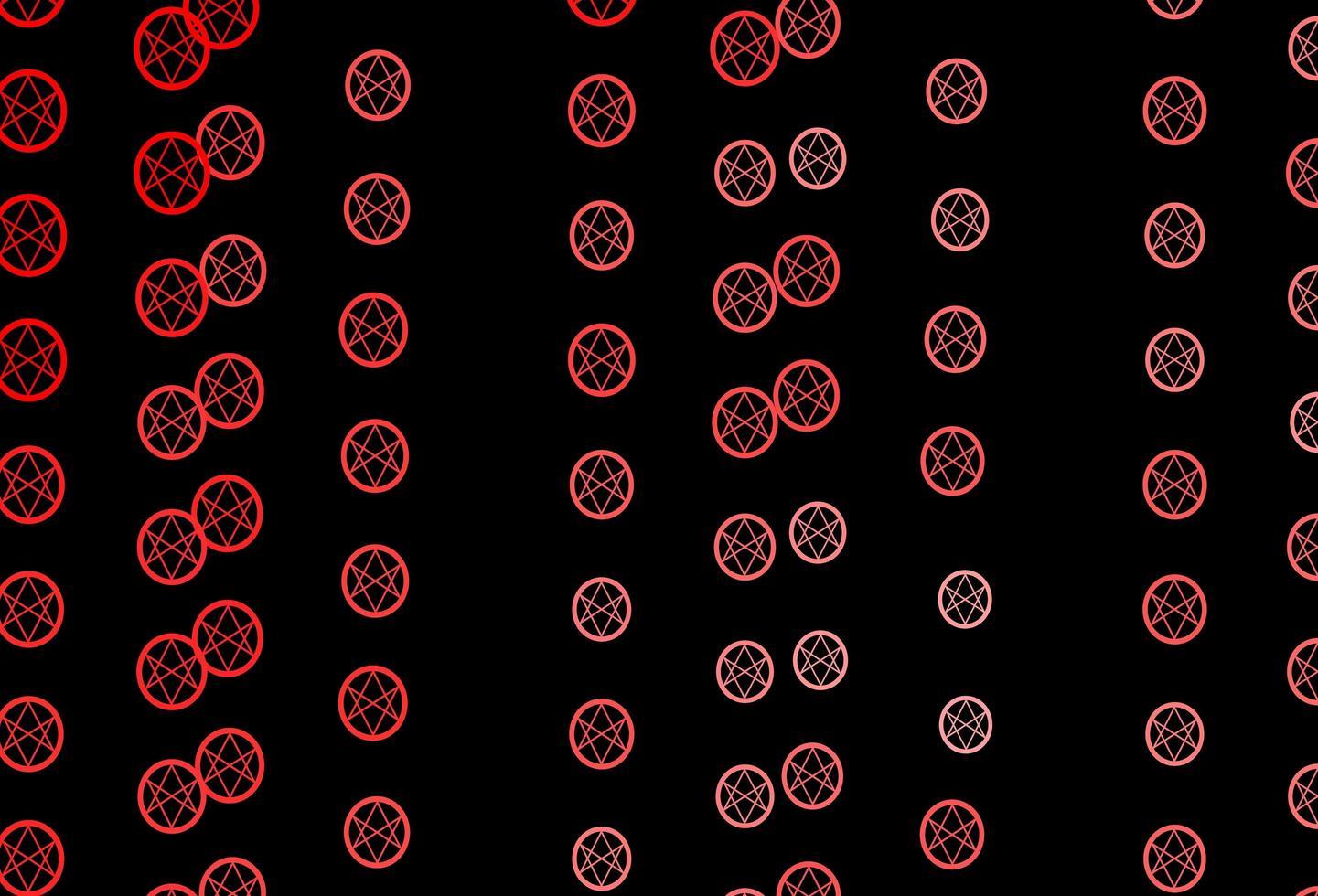 textura de vector rojo oscuro con símbolos religiosos.
