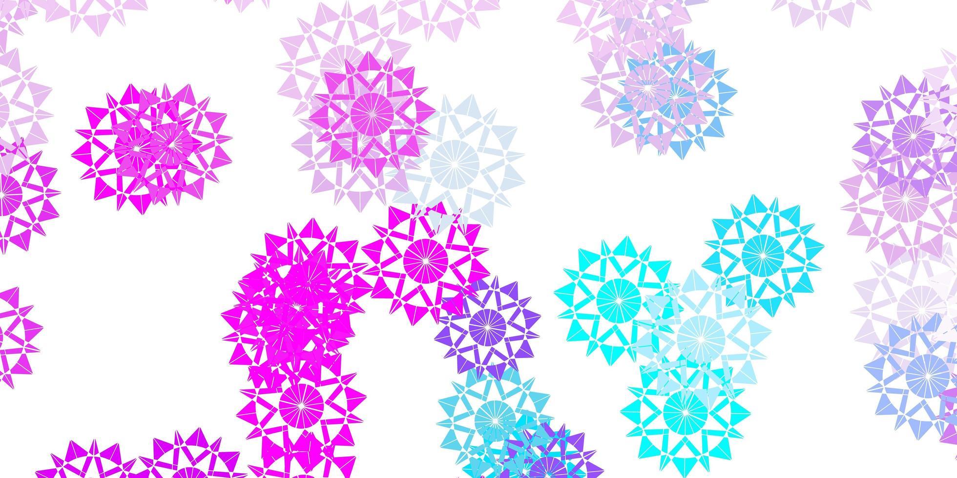 plantilla de vector rosa claro, azul con copos de nieve de hielo.