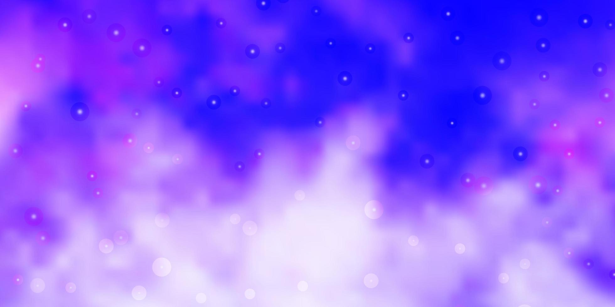 plantilla de vector púrpura claro con estrellas de neón.