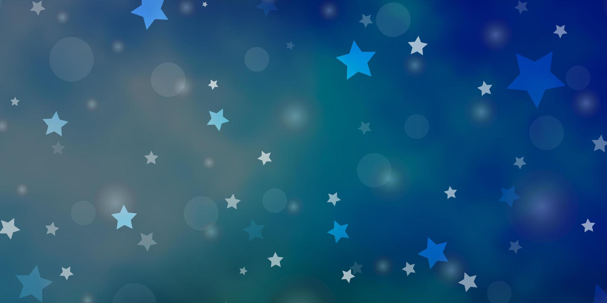 Light Blue, Green vector backdrop with circles, stars.