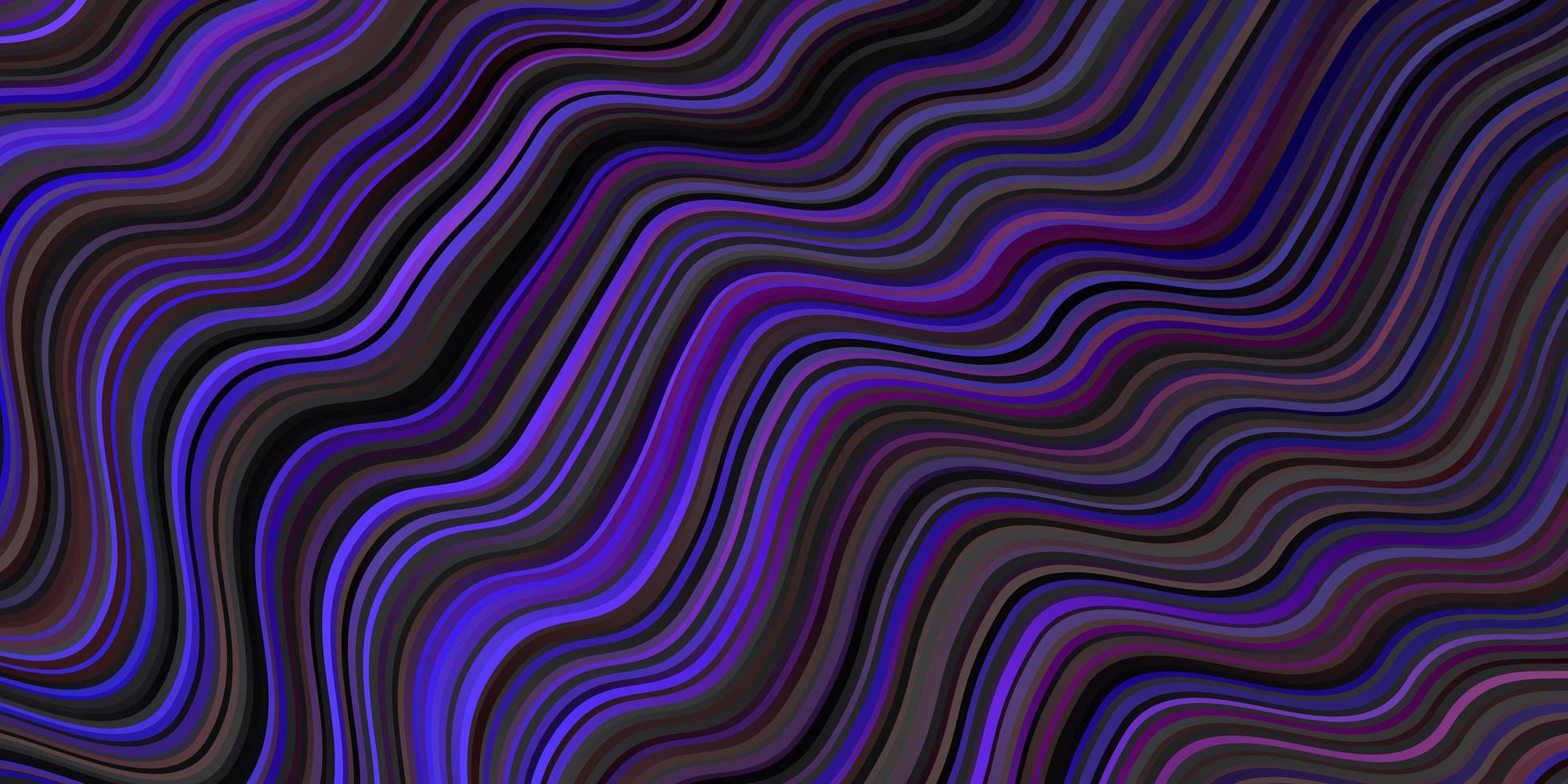 Fondo de vector azul oscuro, rojo con líneas curvas