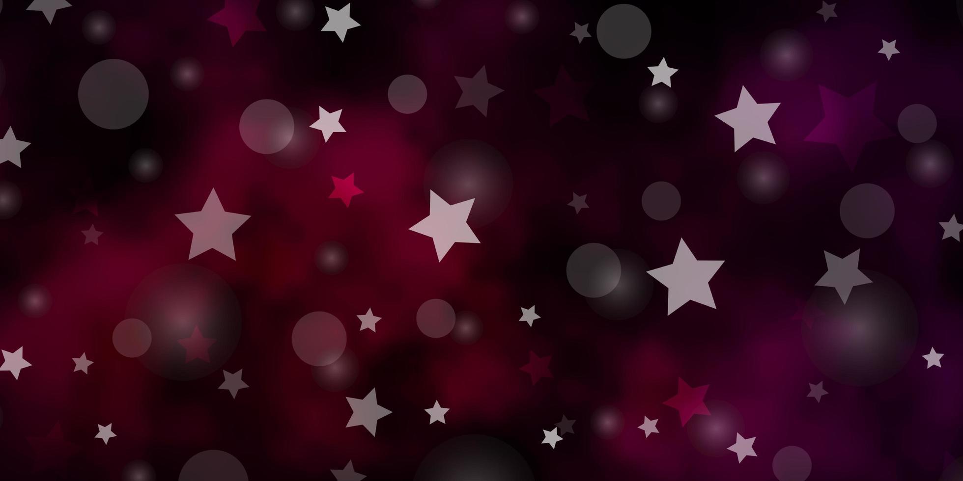 textura de vector púrpura oscuro con círculos, estrellas