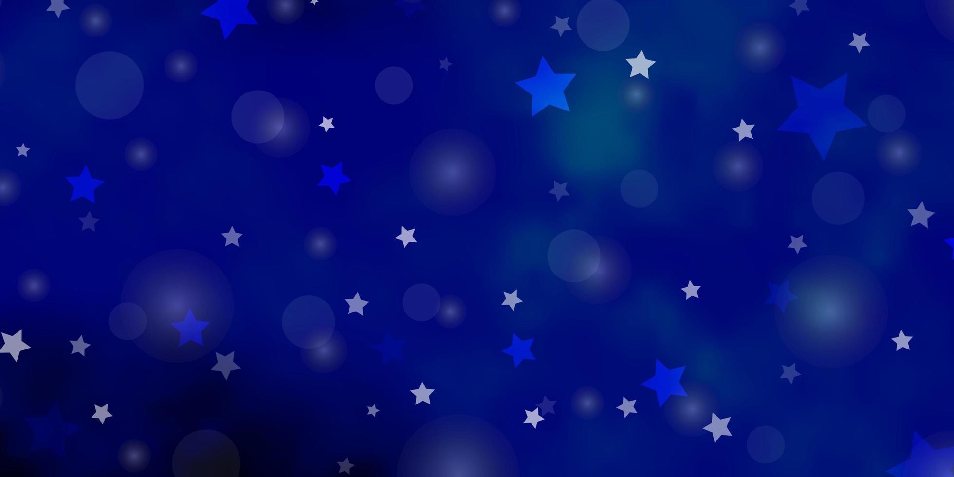 Fondo de vector azul oscuro con círculos, estrellas.
