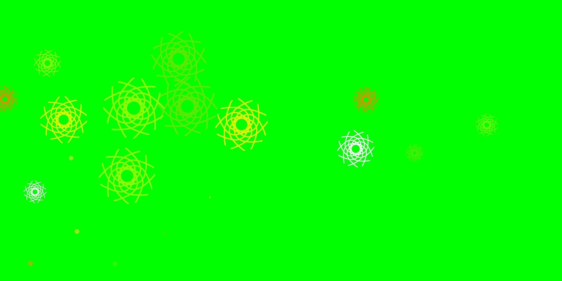 plantilla de vector verde claro, amarillo con formas abstractas.