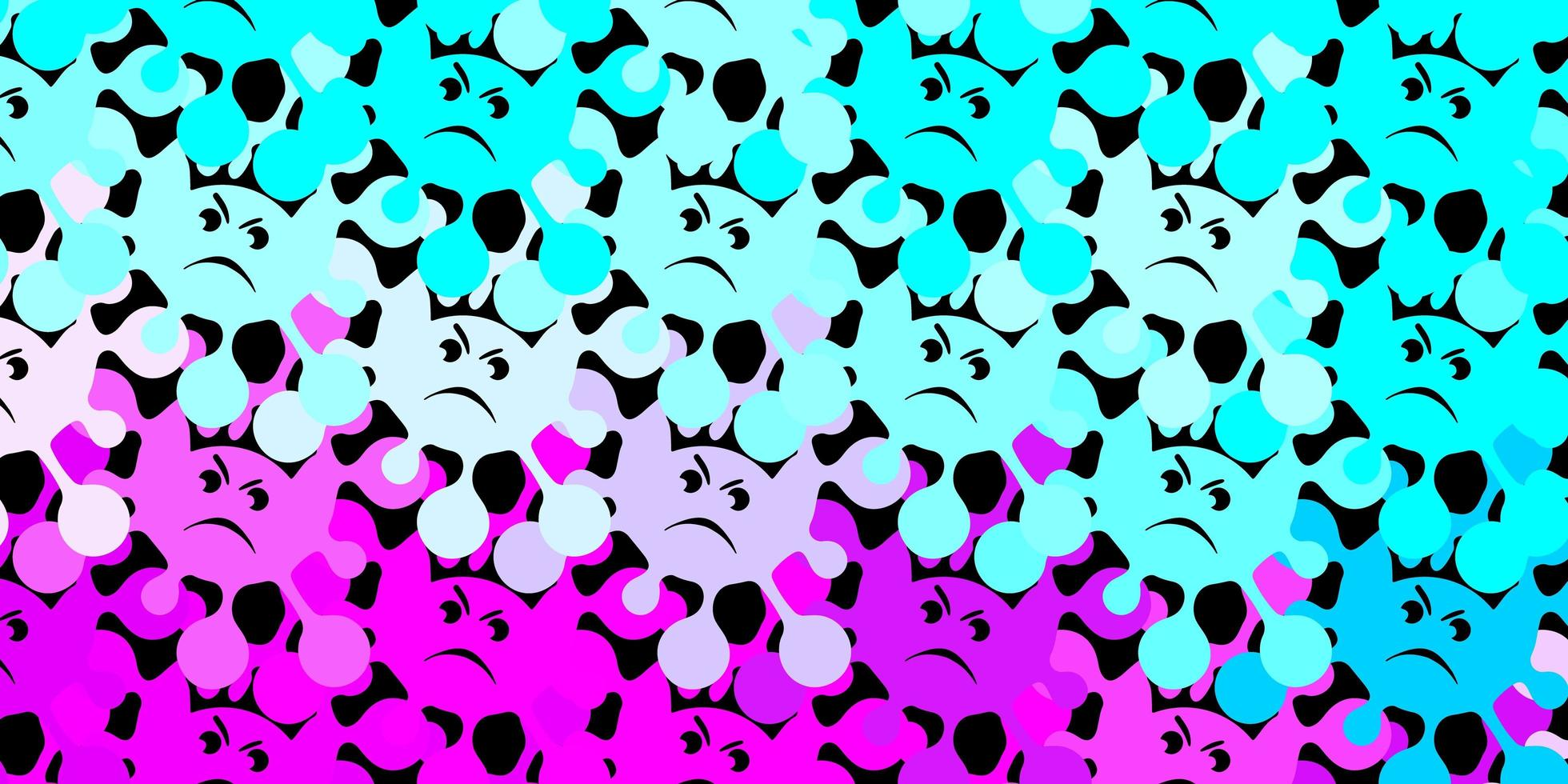 Dark pink, blue vector background with covid-19 symbols.