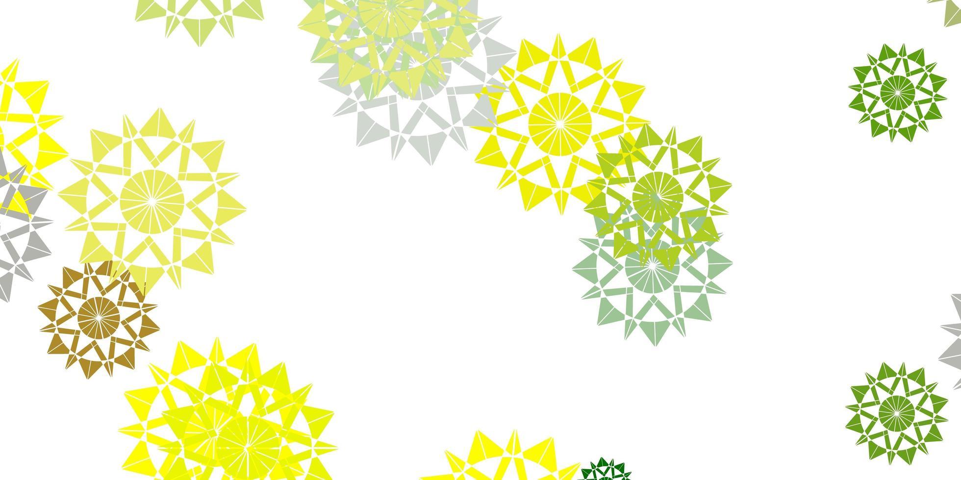 diseño de vector verde claro, amarillo con hermosos copos de nieve.