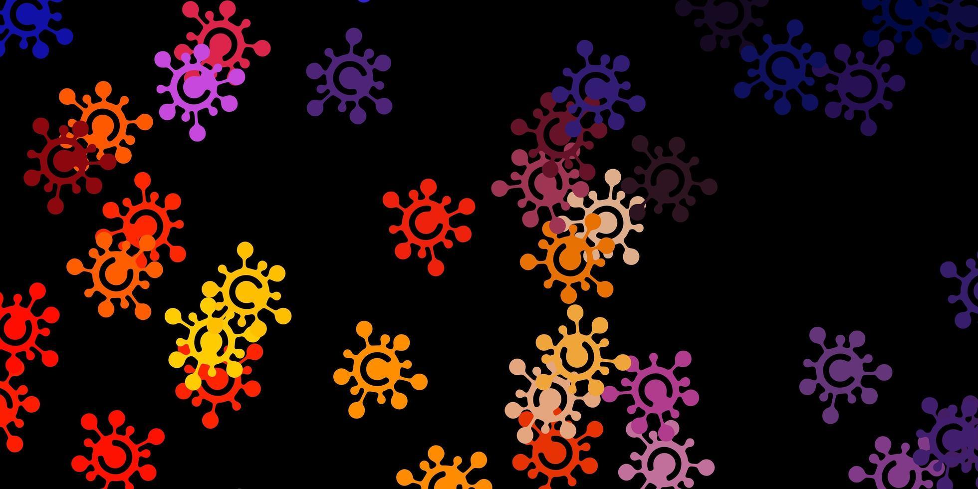 patrón de vector rosa oscuro, amarillo con elementos de coronavirus.