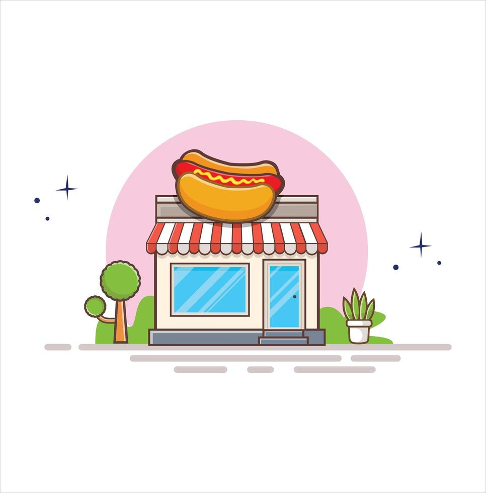 Hot Dog Shop Food Shop. The facade of shop icon in flat style design illustration vector
