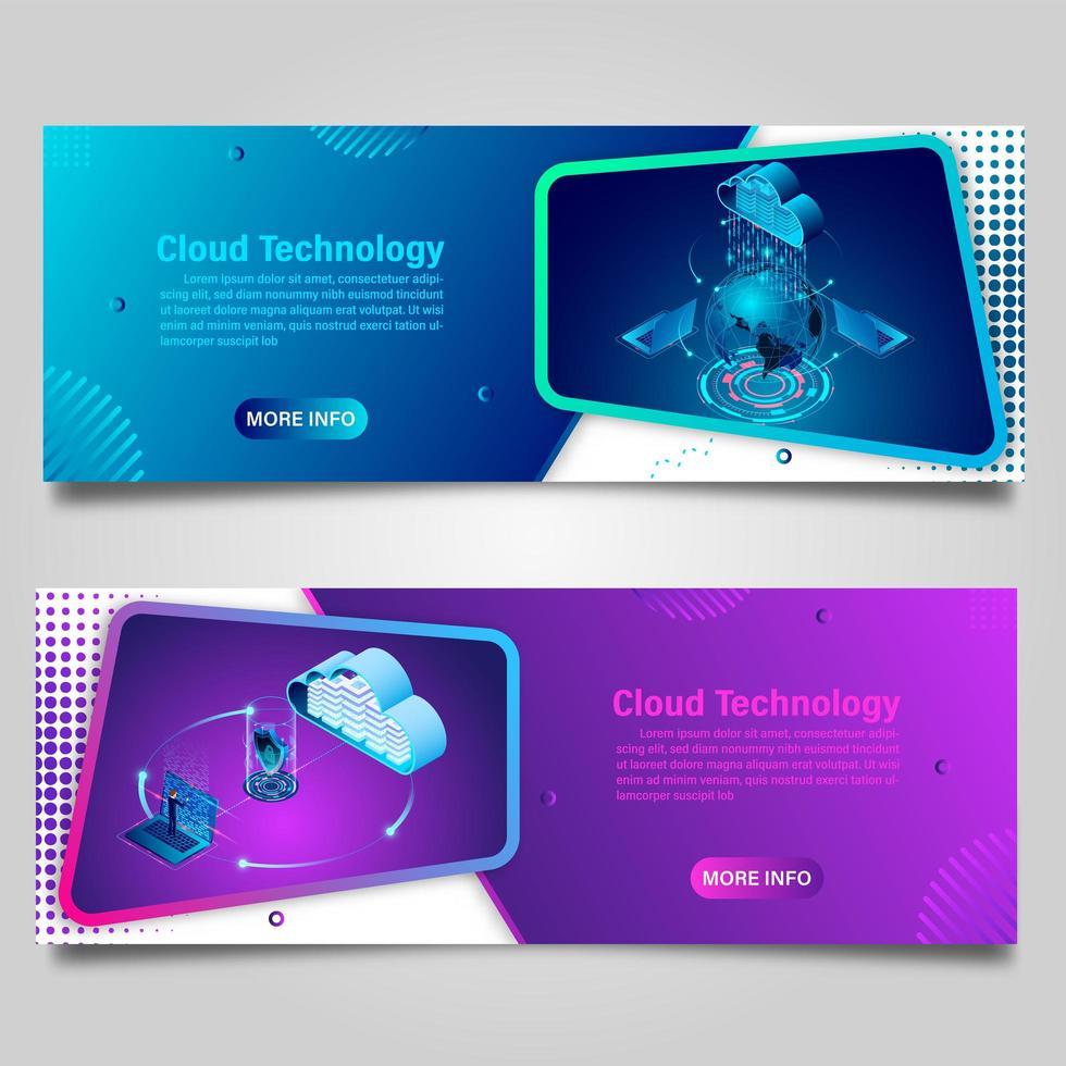 Cloud computing technology banner set vector