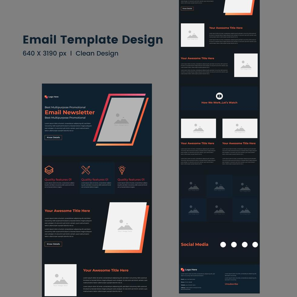 Multipurpose Corporate Newsletter Email Template vector