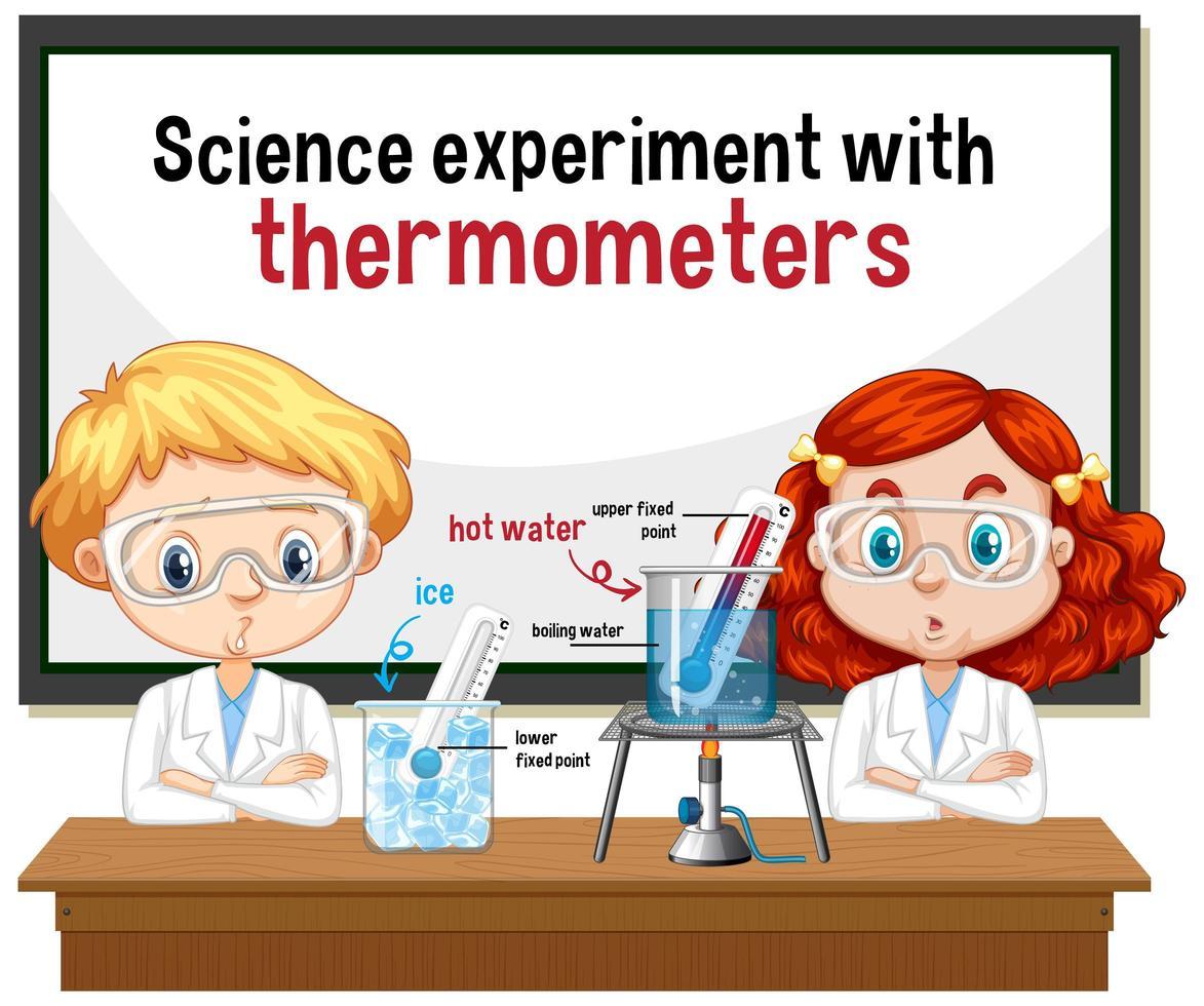 científico que explica el experimento científico con termómetros vector