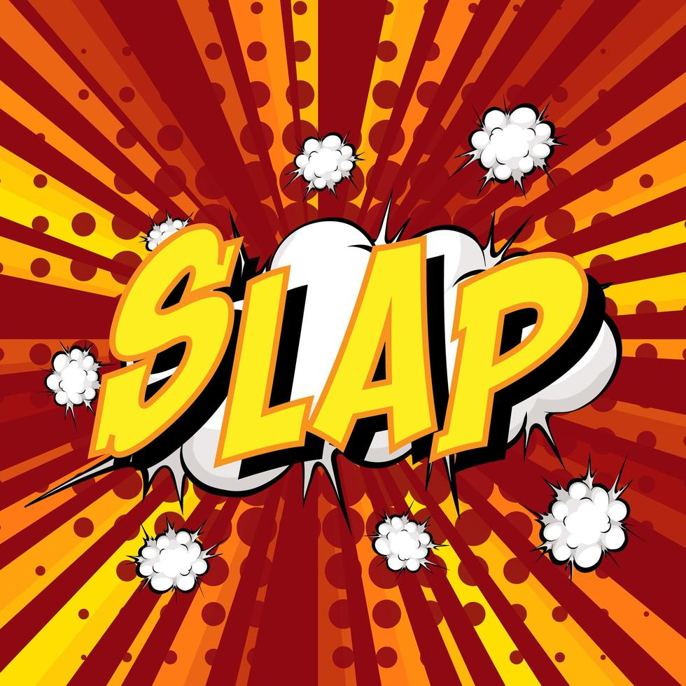 SLAP wording comic speech bubble on burst vector