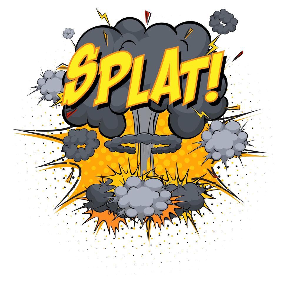 Splat texto en explosión de nube cómica aislado sobre fondo blanco. vector