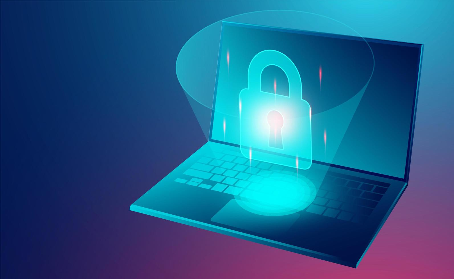 Data security conceptData security concept banner with laptop vector