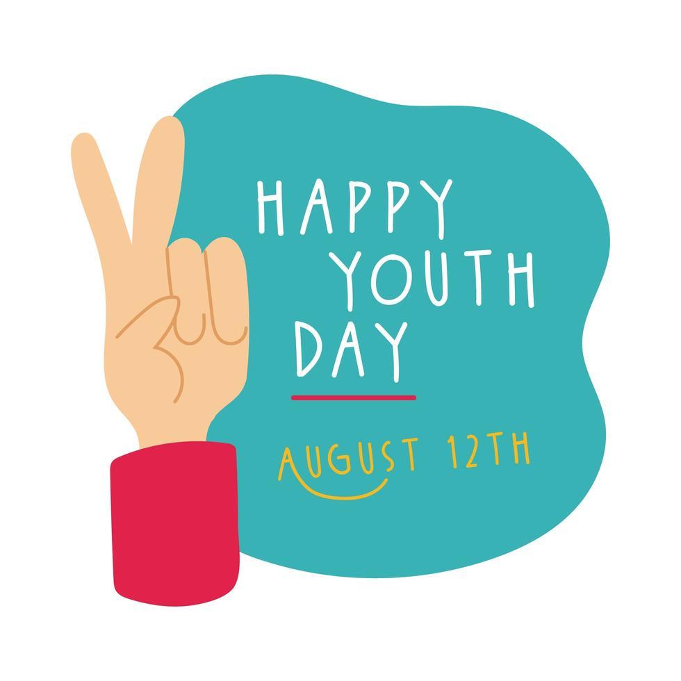 Feliz día de la juventud letras con estilo plano de símbolo de amor y paz de mano vector