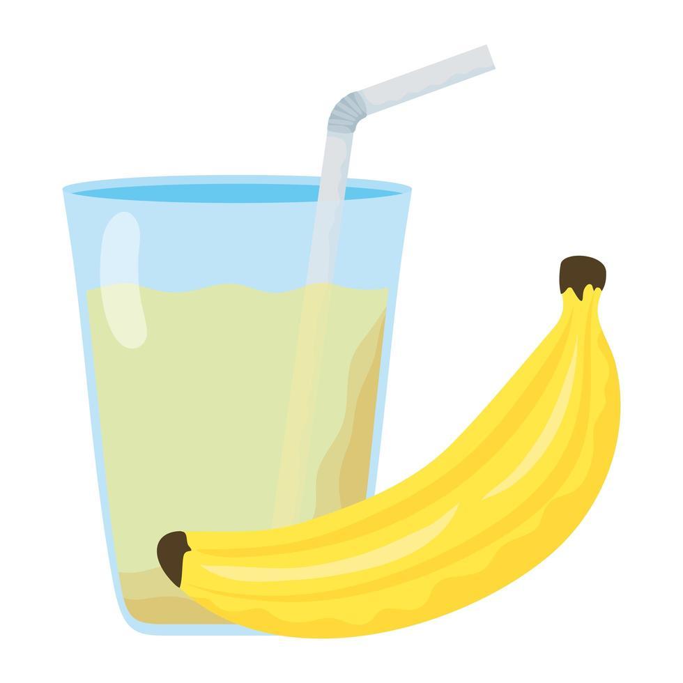 fruta fresca de plátano con jugo en vaso vector