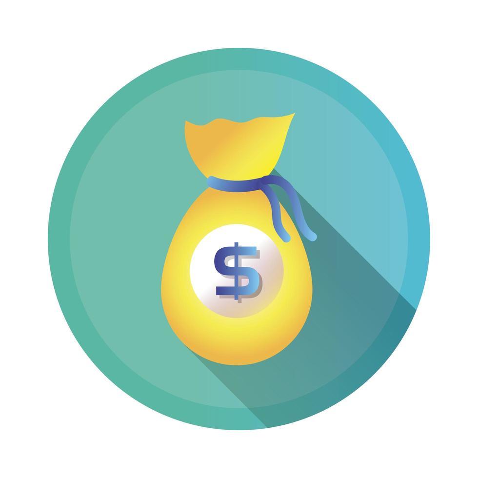icono de estilo detallado de bolsa de dinero vector