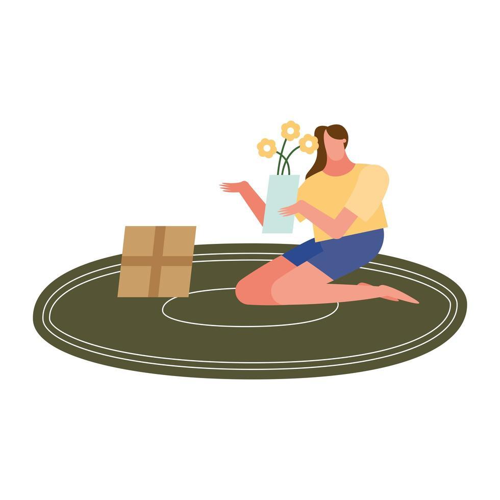 mujer con flores en florero y caja de diseño vectorial vector