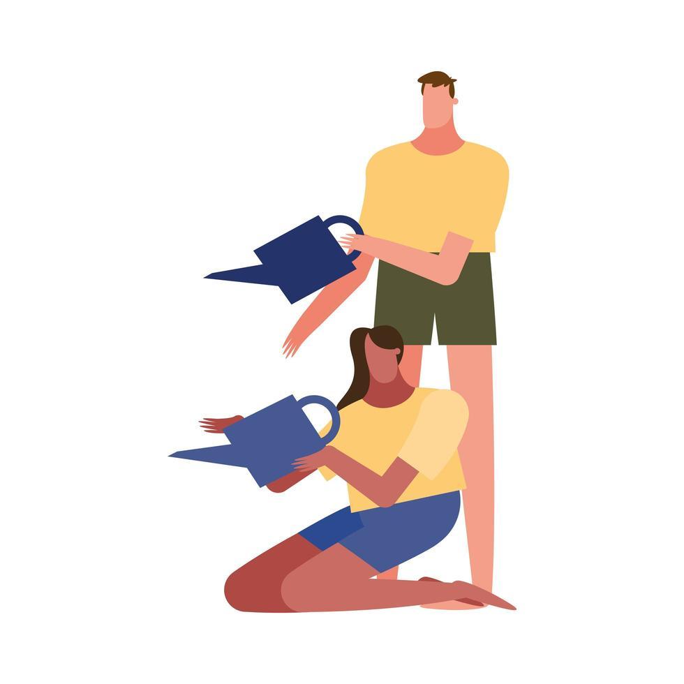 hombre y mujer con regaderas diseño vectorial vector