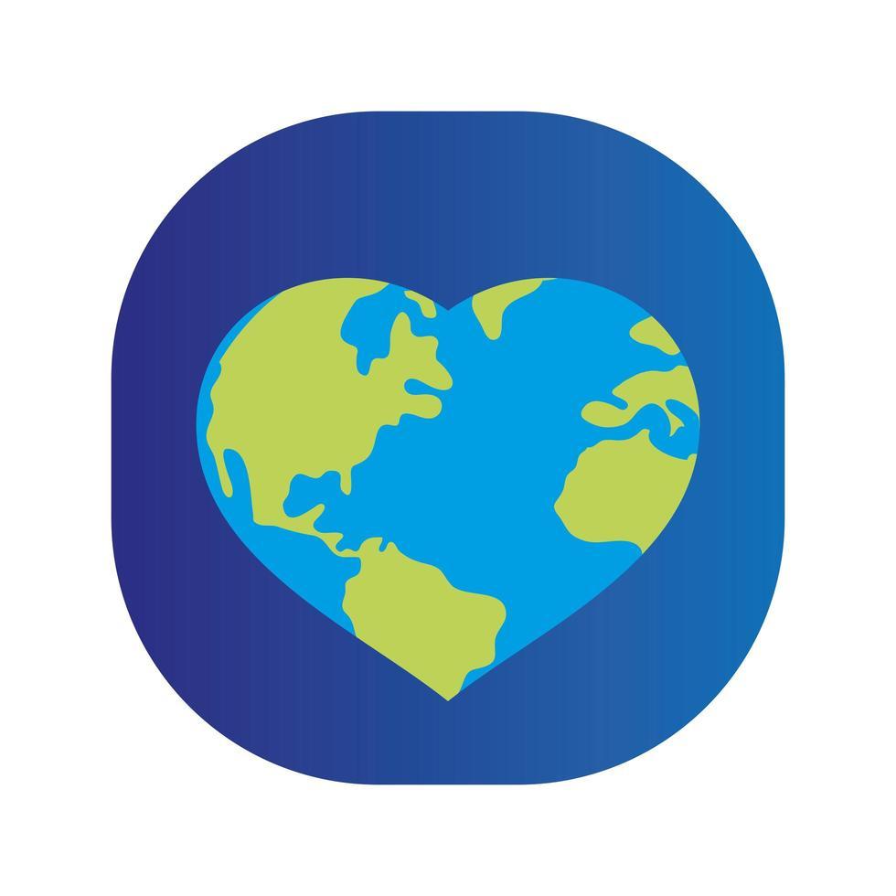 corazón mundo planeta tierra vector