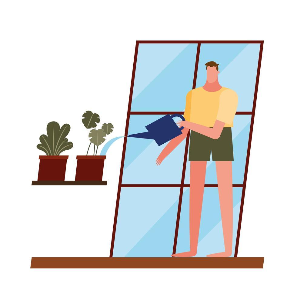 Hombre con plantas y regadera en casa diseño vectorial de ventana vector
