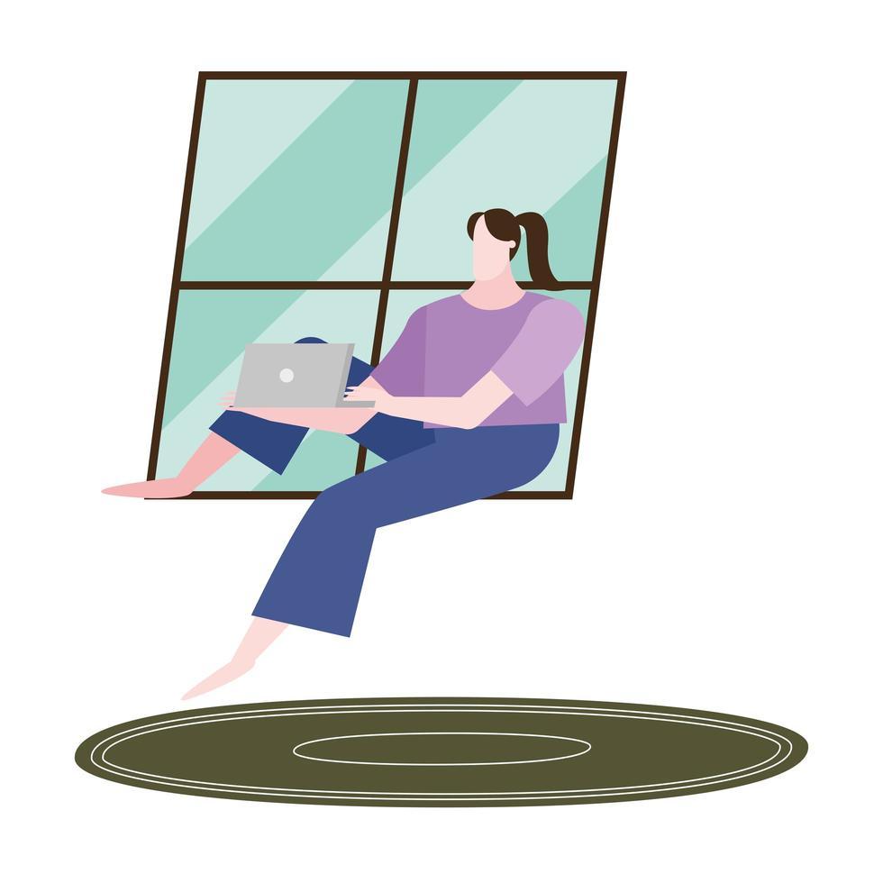 Mujer con laptop en diseño de vector de ventana de casa