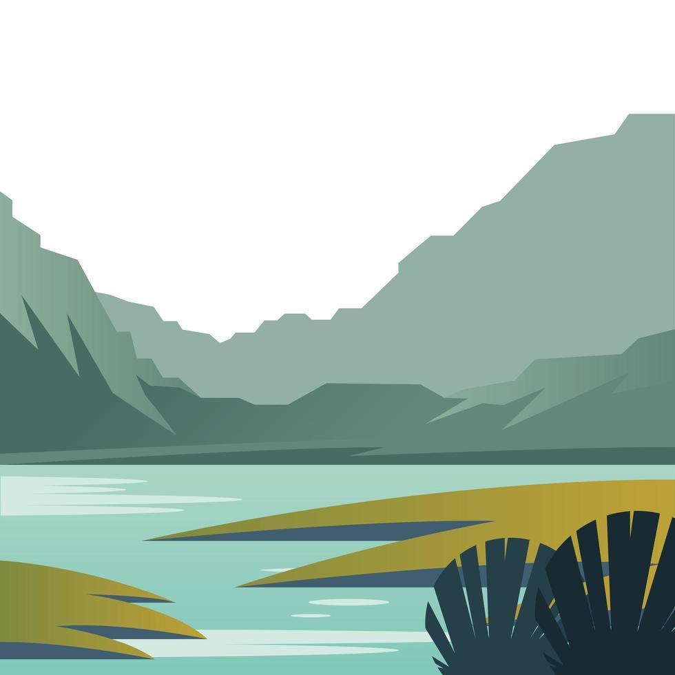 hermosa escena de paisaje con lago vector