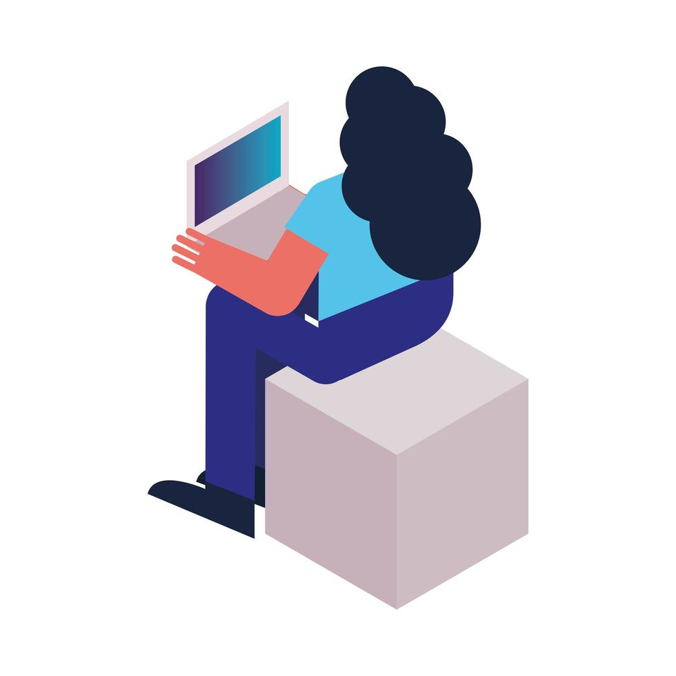 mujer con icono de tecnología portátil vector