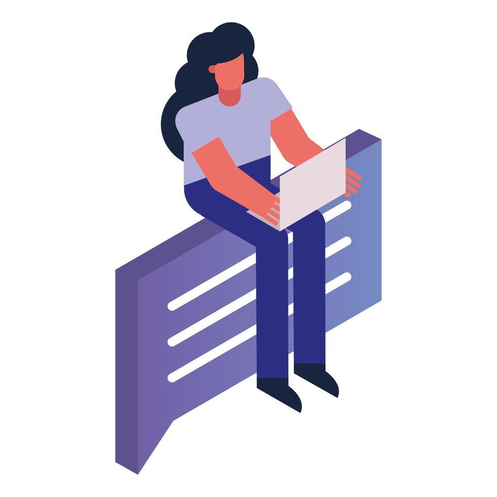 mujer, usar la computadora portátil, sentado, en, burbuja del discurso vector