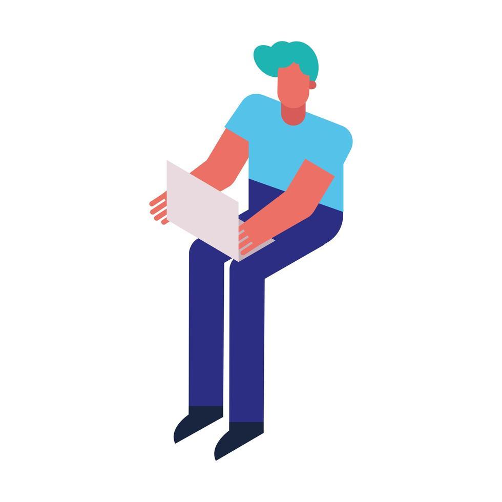 Hombre usando el icono de tecnología de computadora portátil vector