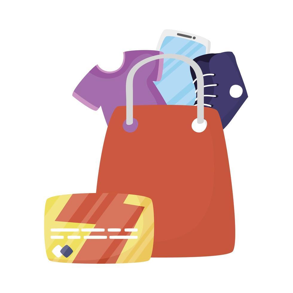 bolso con diseño de vector de camiseta, teléfono inteligente, zapato y tarjeta de crédito