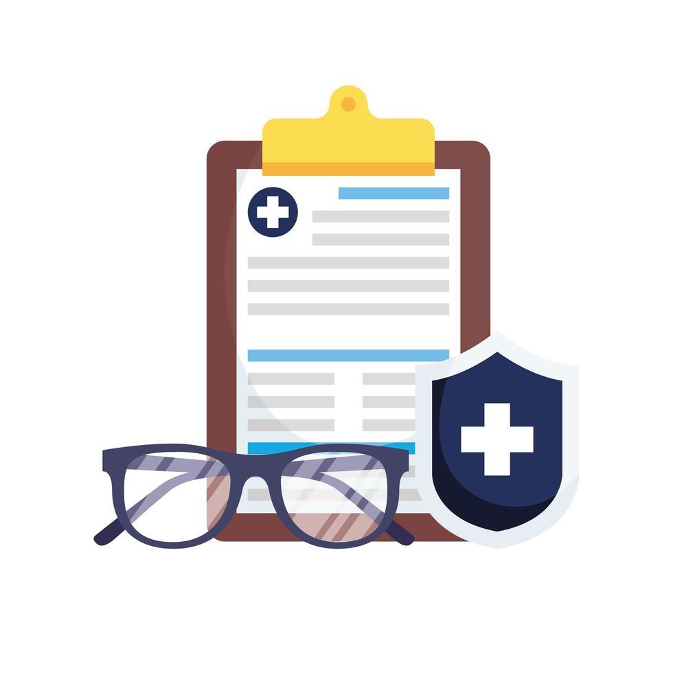 historial médico, escudo y gafas de diseño vectorial vector