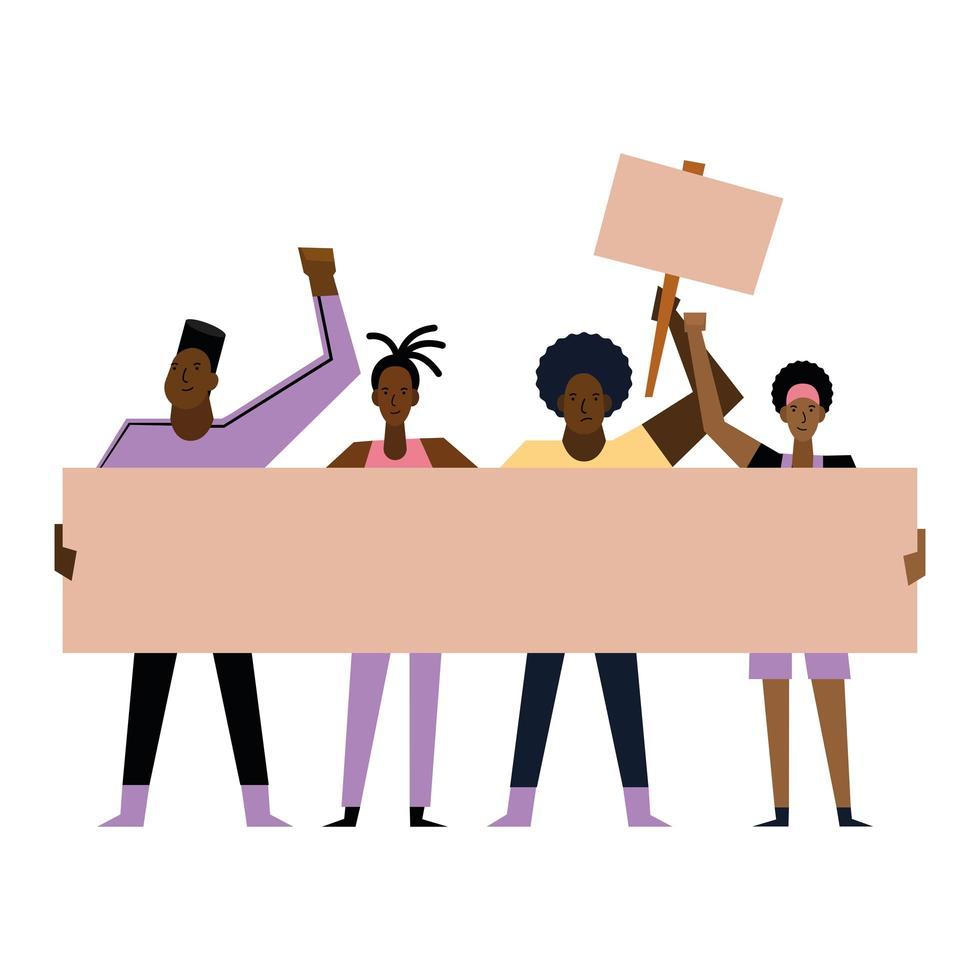 Black lives matter women and men with banners vector design