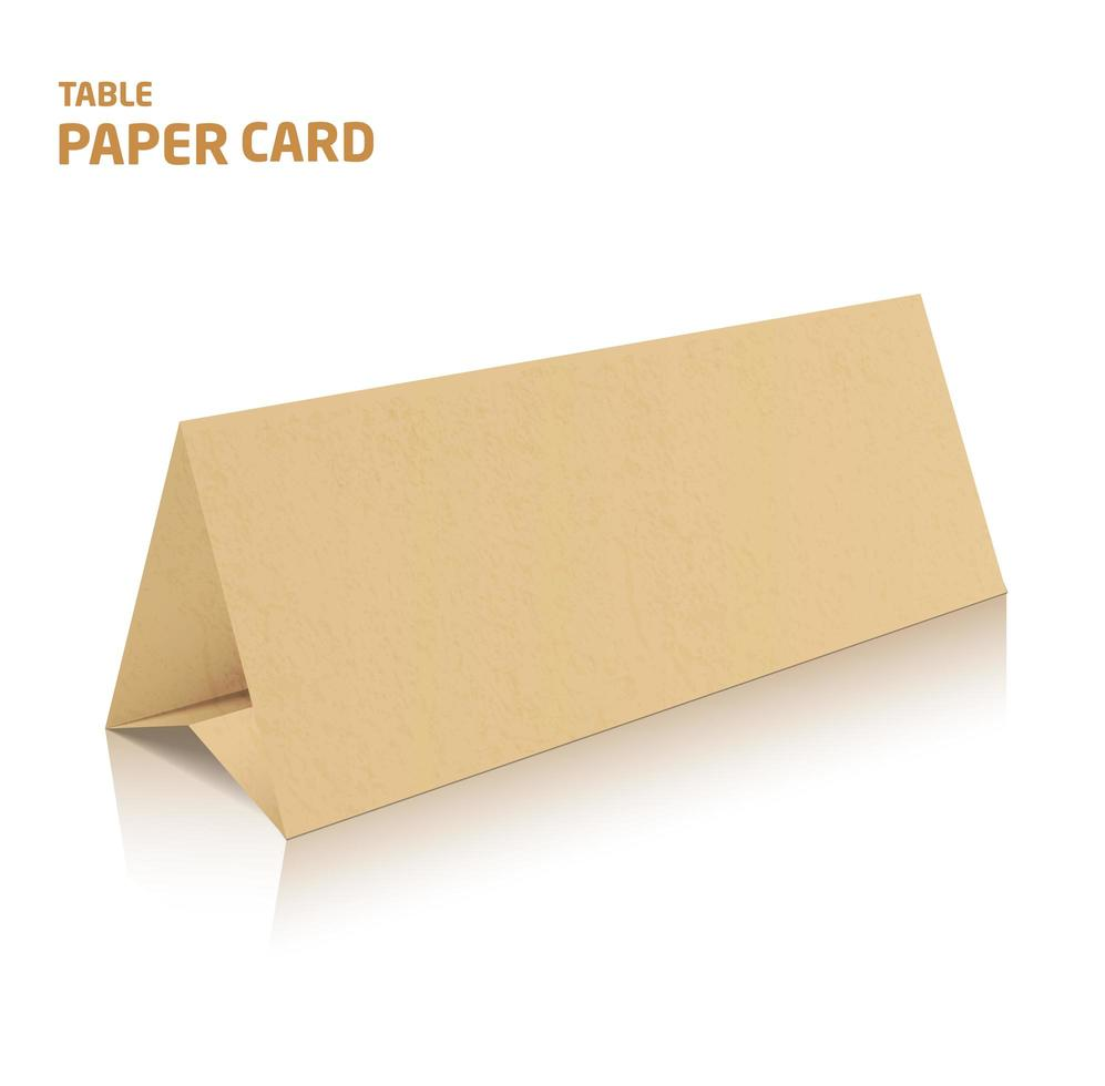 Blank trifold paper brochure mockup. 3d Vector Illustration in color.