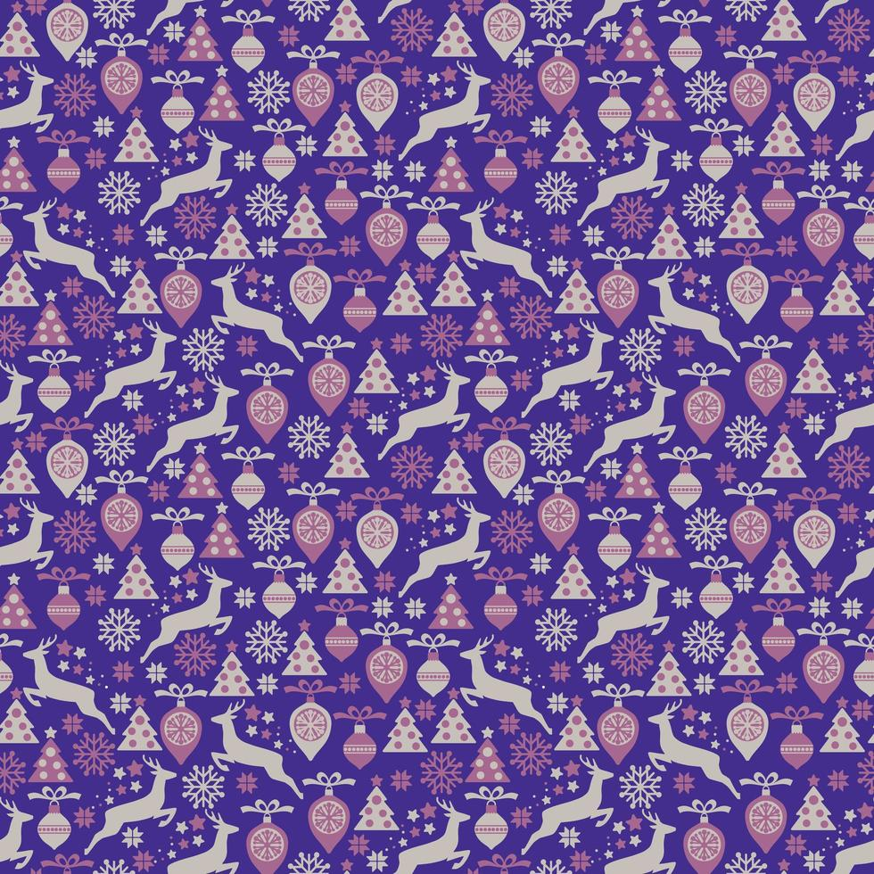 Christmas seamless pattern with deer on a purple background vector