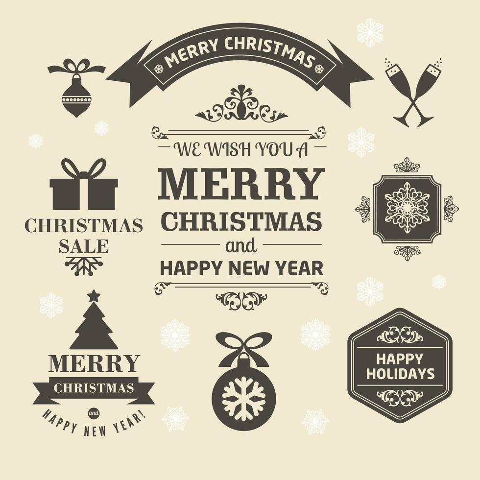 Christmas logos and medals in a retro style for Christmas vector