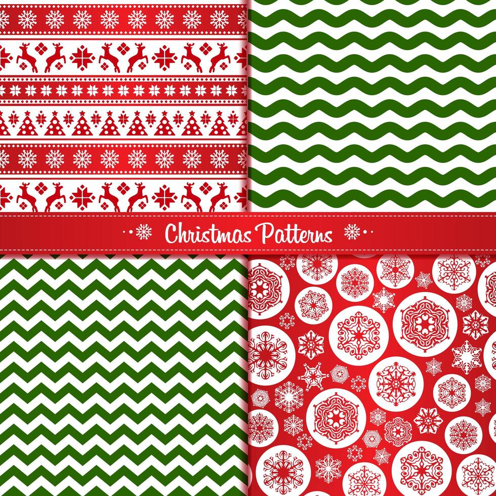 Set Christmas seamless patterns of red and green with reindeer and snowflakes vector