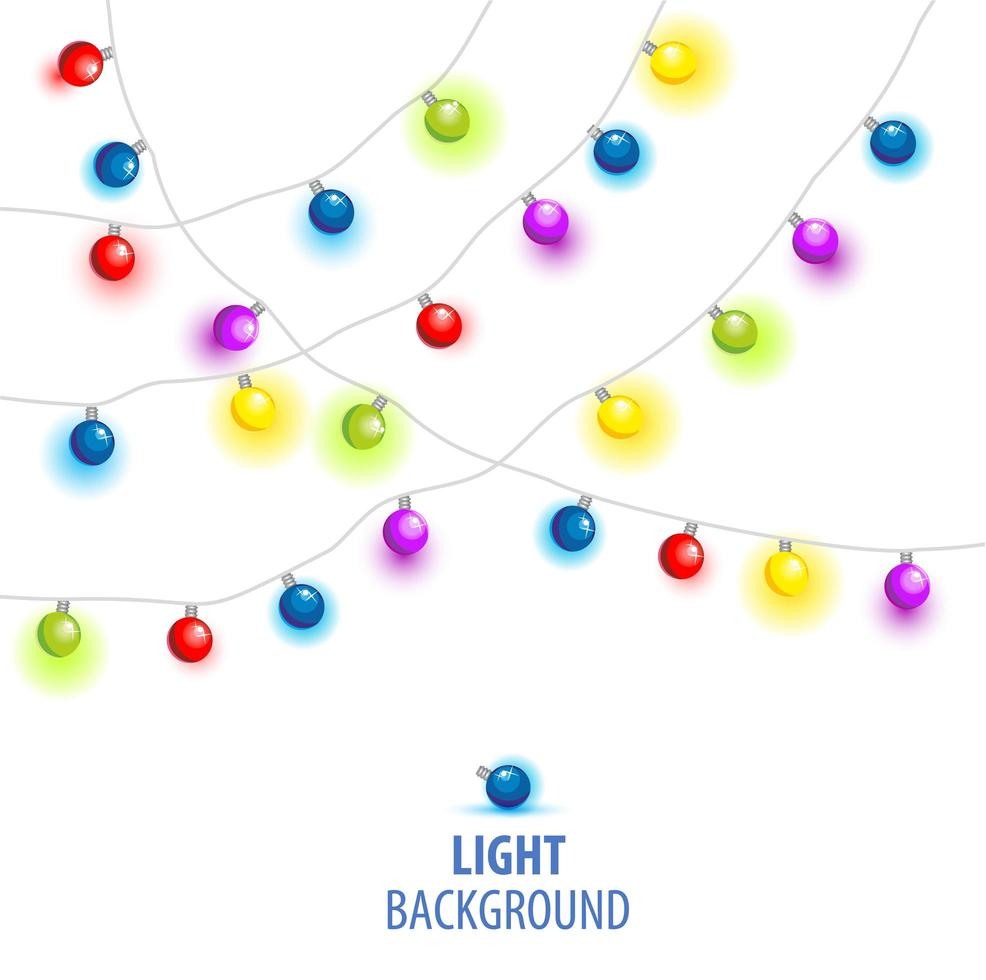 Vector illustration of Christmas, New Year lights isolated on background.
