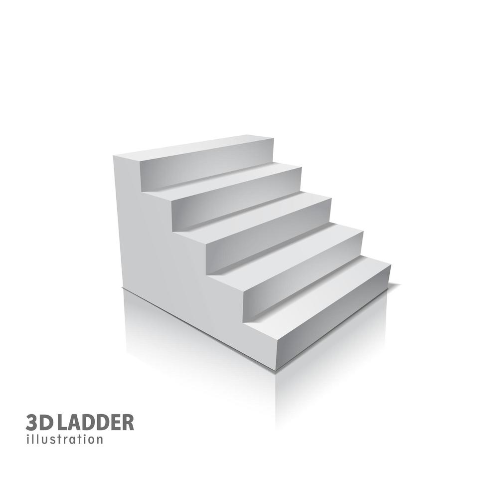 Design elements White stairs realistic illustration design with shadow. 3D Stand on isolated. Illustration for promotional presentation vector