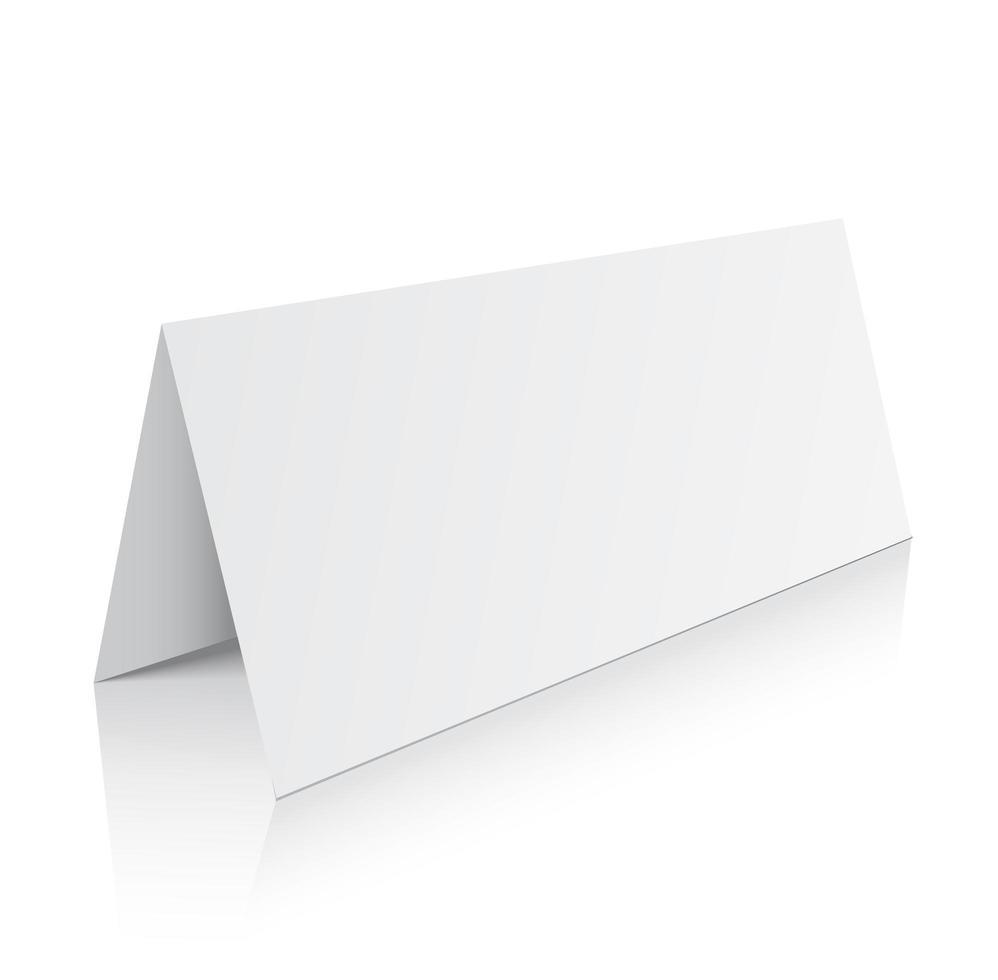Blank trifold paper brochure mockup. 3d Vector Illustration.