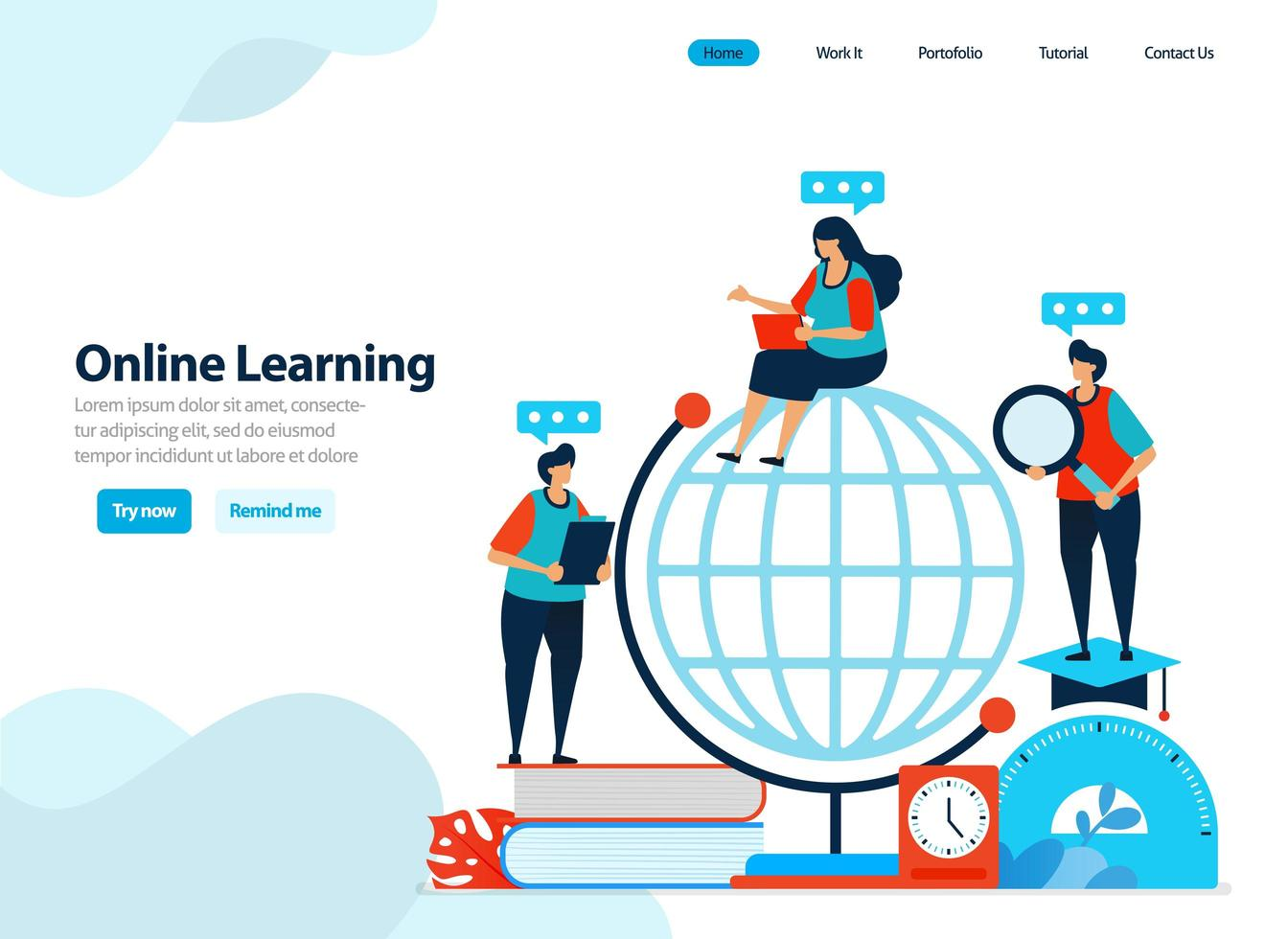 website design of online learning and digital education. distance learning with internet and innovation. Flat illustration for landing page template, ui ux, website, mobile app, flyer, brochure, ads vector