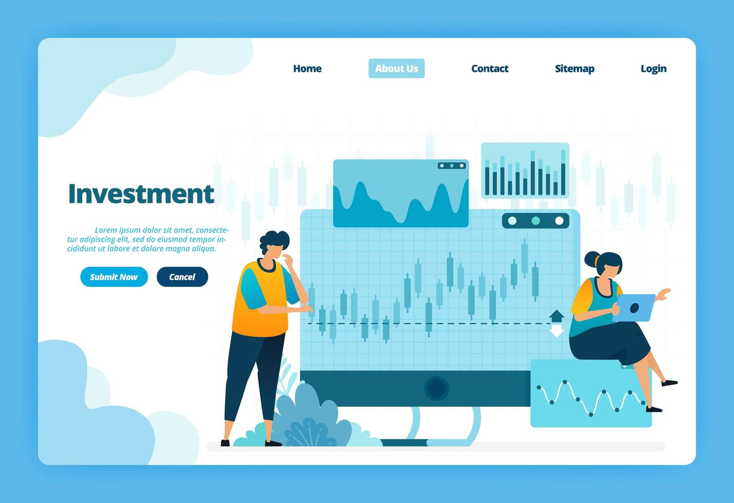 Landing page of investment. Forex for modern investment options with trade in currencies and commodities. Illustration of landing page, website, mobile apps, poster, flyer vector