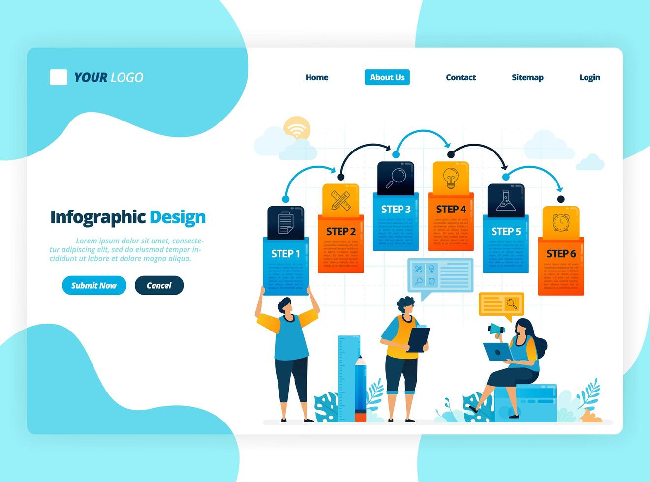 human illustration and infographic design for business options, steps in learning, education processes. Flat vector for landing page, web, website, banner, mobile apps, flyer, poster, brochure