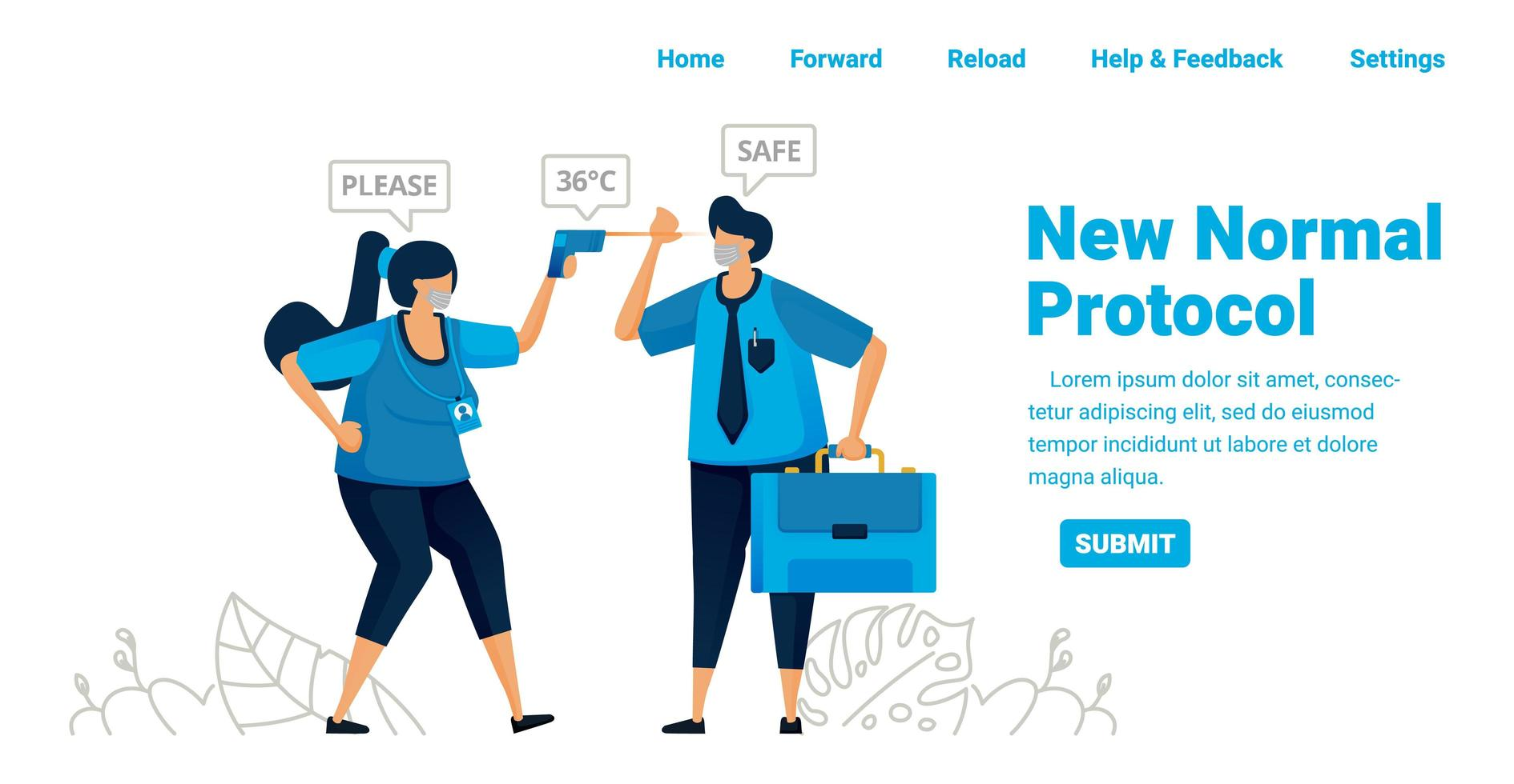 New normal pandemic protocol for work and travel. Control body temperature in offices, airports and health facilities. Illustration design of landing page, website, mobile apps, poster, flyer, banner vector