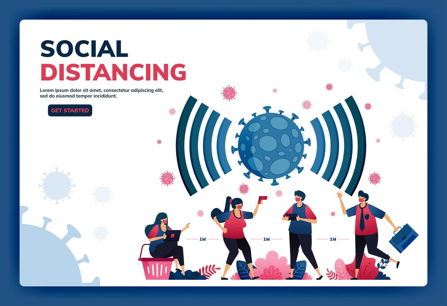 Landing page vector illustration of social distancing and new normal protocols for work and activities during a pandemic. Symbol icon for virus, radar, signal, network and wifi of covid-19. Web, apps