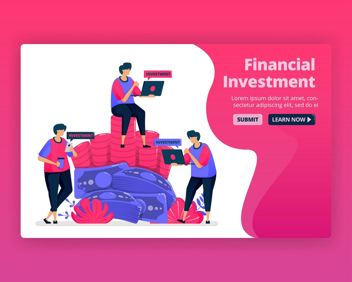 Vector illustration of people save and invest in banking to increase the value of wealth. Currency investment in money market. Can be used for landing page, website, web, mobile apps, posters, flyers