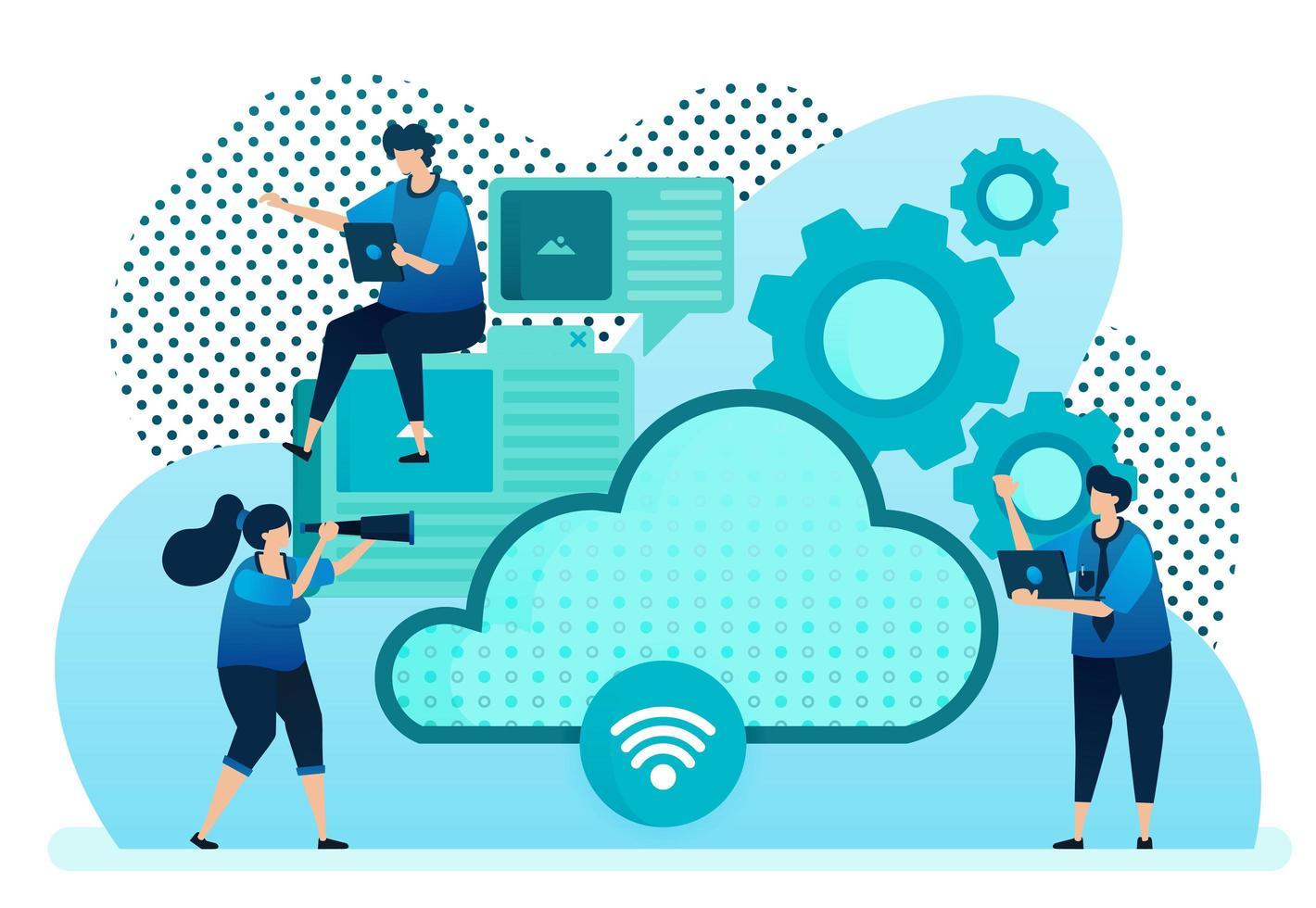 Vector illustration for cloud provider for network, internet connection, communication, hosting server, data center. Design can be used for landing page, template, ui ux, web, website, banner, flyer