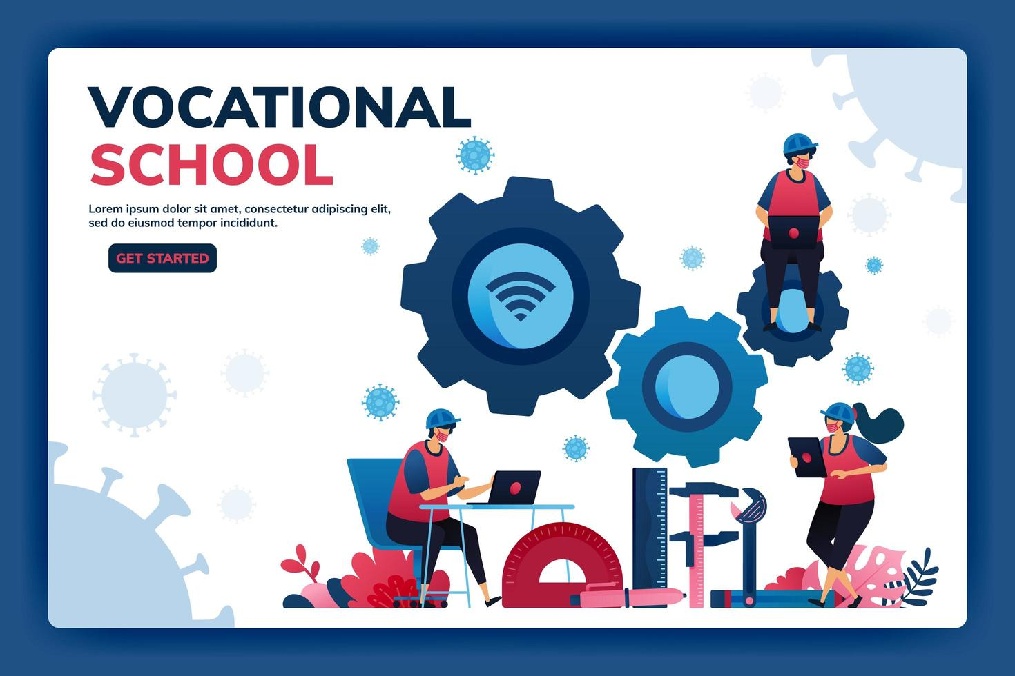 Landing page vector illustration of vocational education scholarships and e-learning to support human resources during the covid-19 virus pandemic. Symbols of machines tools. Web, website, banner