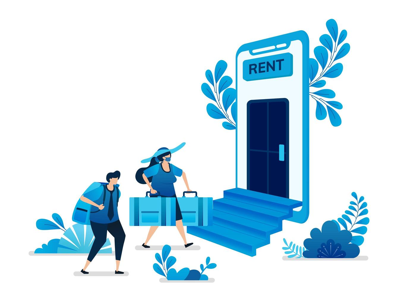 Vector illustration of home and apartment rental mobile apps. Cheap trips and backpacking vacation traveling. Can be used for landing page, website, web, mobile apps, flyer banner, template, poster