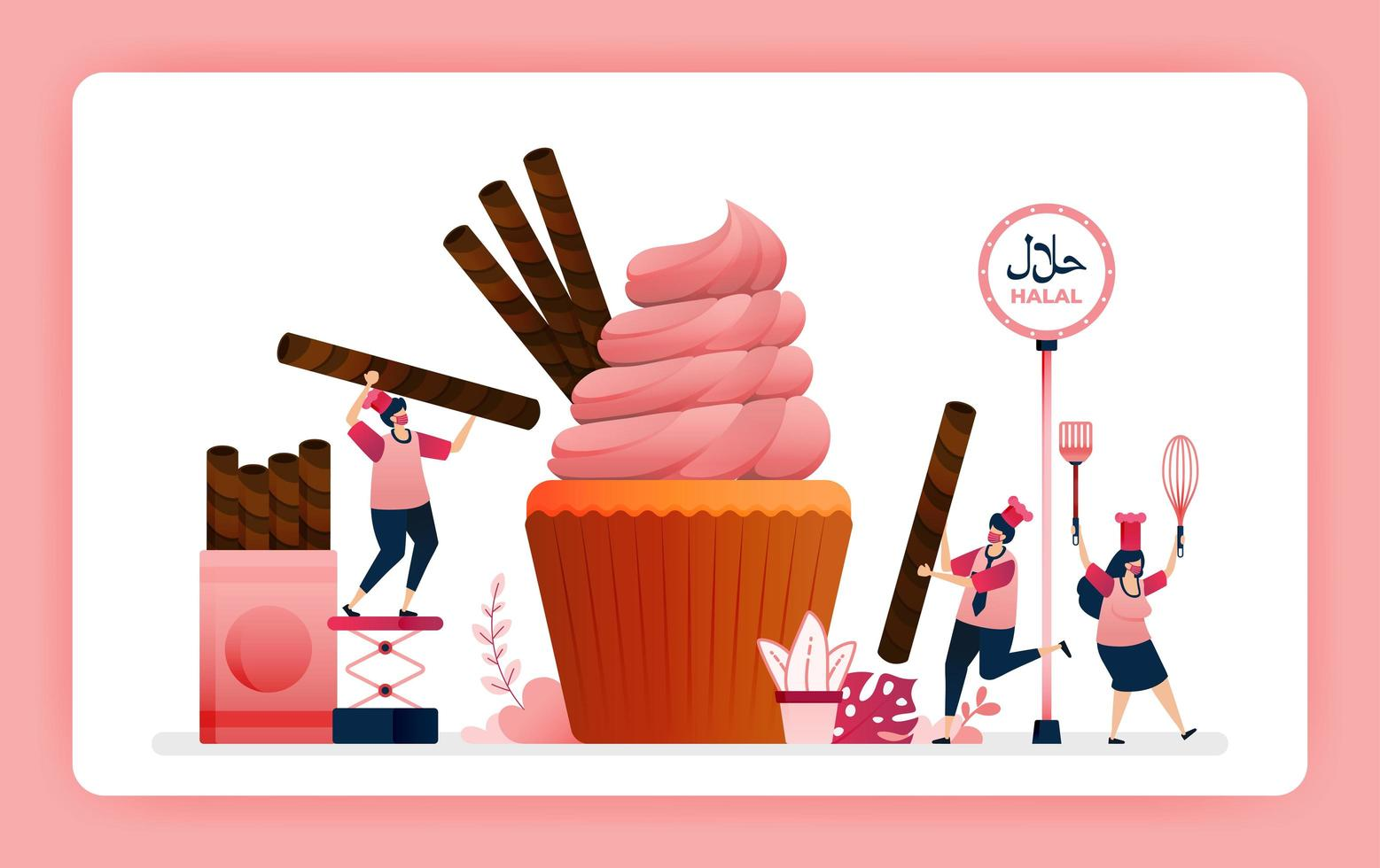 halal food menu illustration of sweet strawberry cupcake. Cook chocolate wafer snacks for muffin topping. Design can use For website, web, landing page, banner, mobile apps, UI UX, poster, flyer vector